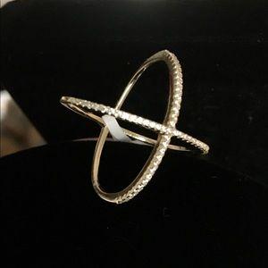 18k gold Swarovski crystal X shaped ring!